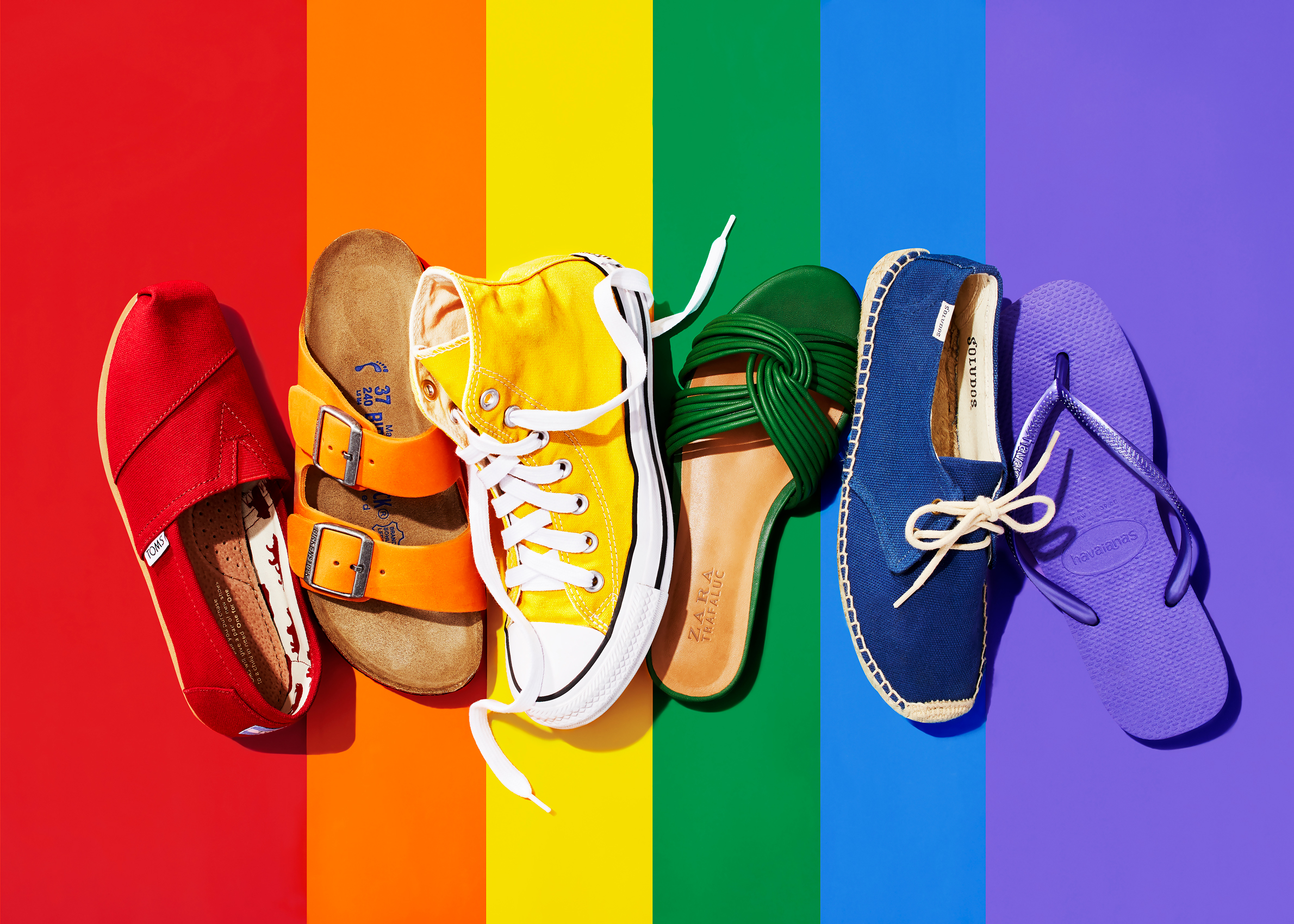 Ryan Dyer Photography | shoes | rainbow background