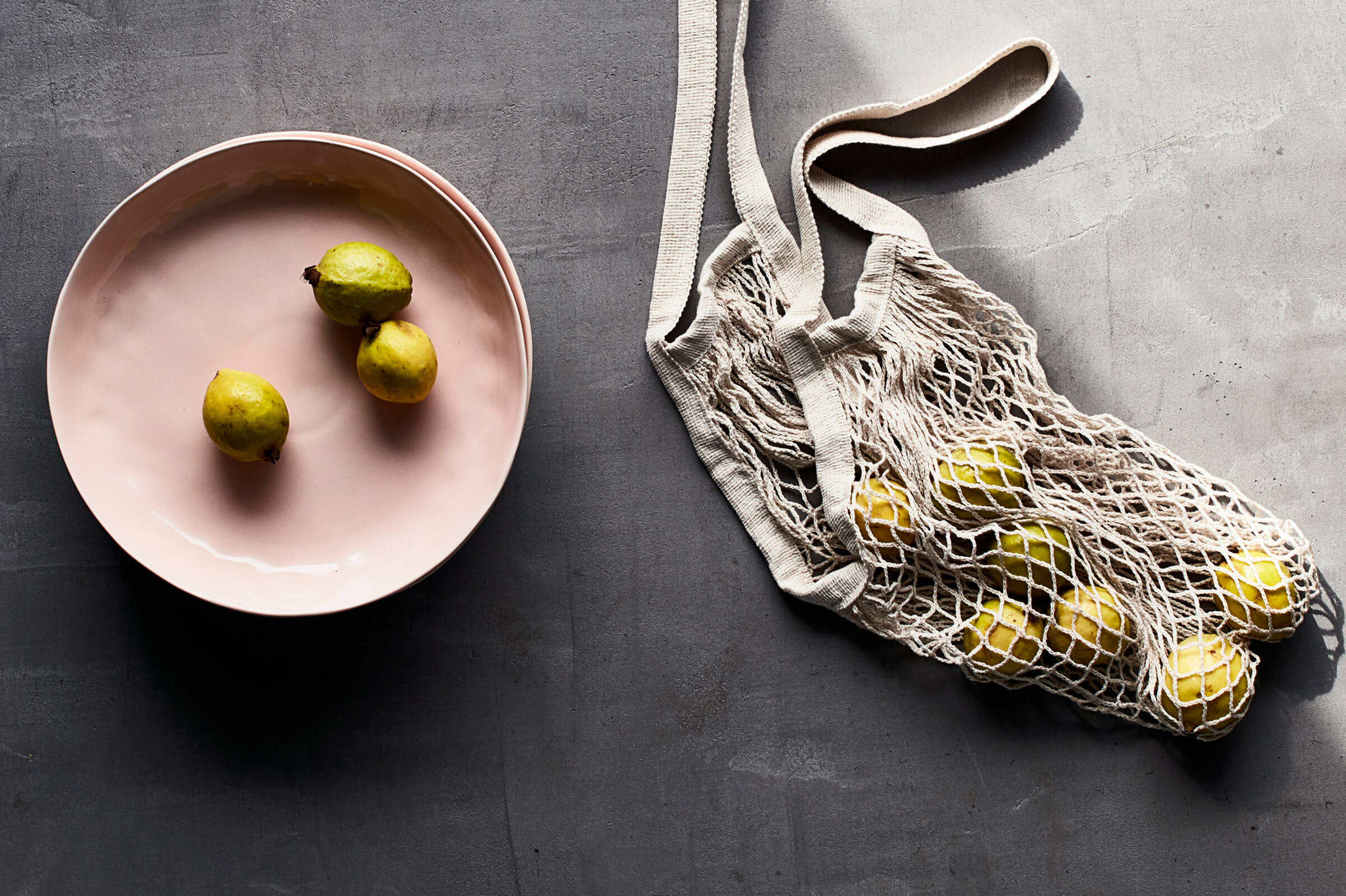 fruit | plate | bag | surface